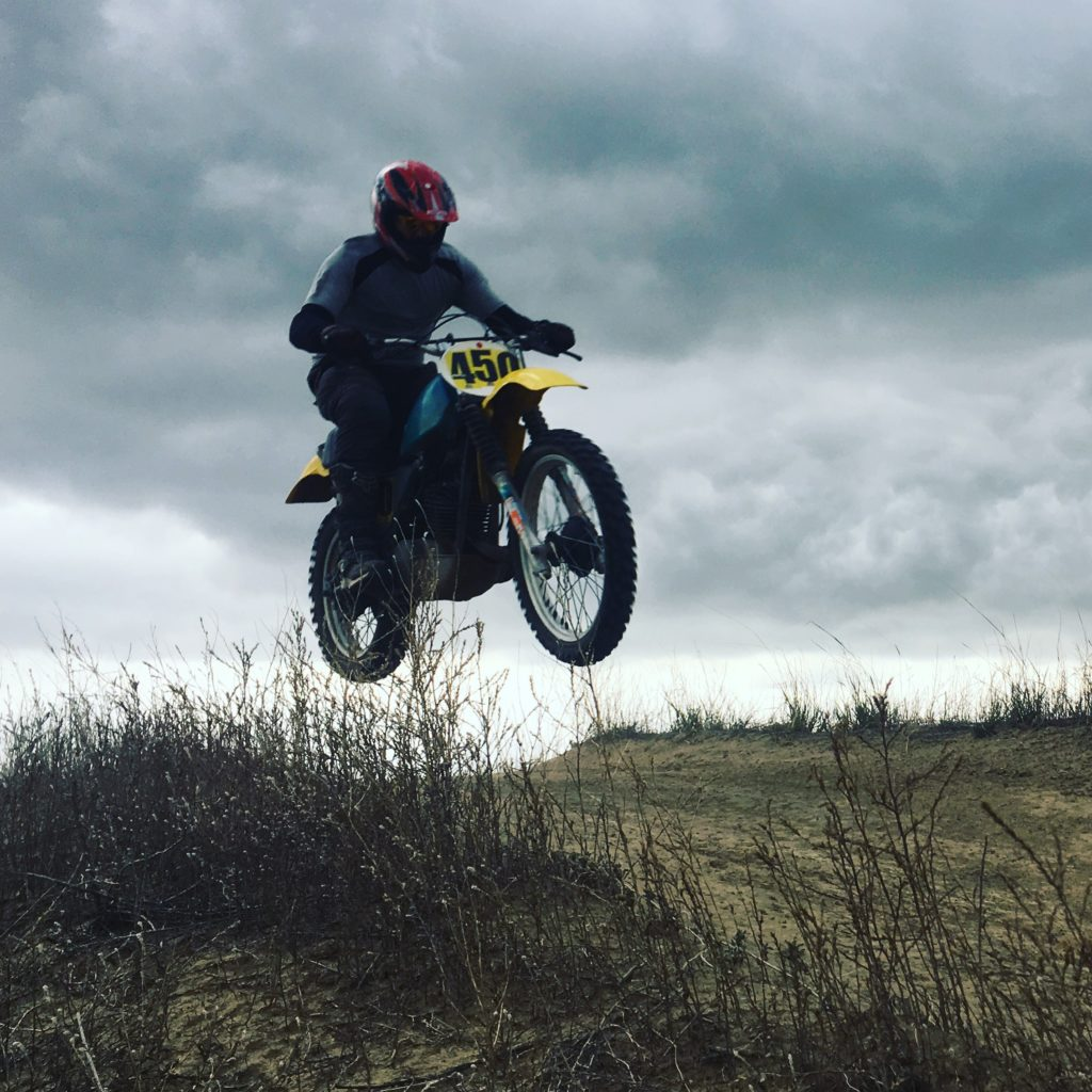 Jumping a 40 year old dirtbike.