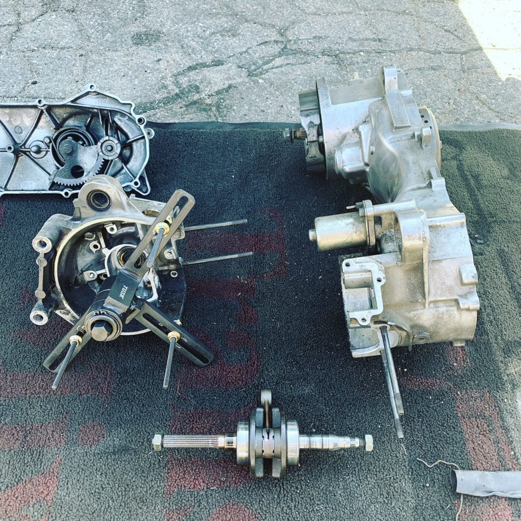 Pulling the crank out of a horizontal Minarelli engine.